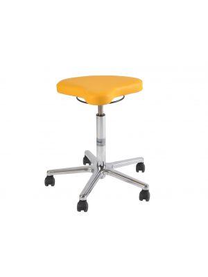 Rollhocker / Drehhocker / Arbeitshocker mit Sattelform Sitzfläche,  Alufußkreuz , höhenverstellbar, belastungsgebremst