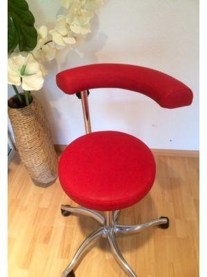 Rollhocker / Drehhocker / Arbeitshocker / Montagestuhl mit runder Sitzfläche mit drehbarer Rückenlehne, höhenverstellbar, belastungsgebremst