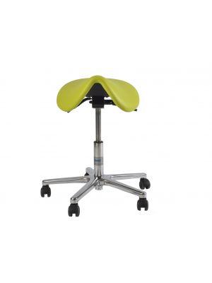 Rollhocker / Drehhocker / Arbeitshocker mit Pony-Sitzfläche,  Alufußkreuz , höhenverstellbar